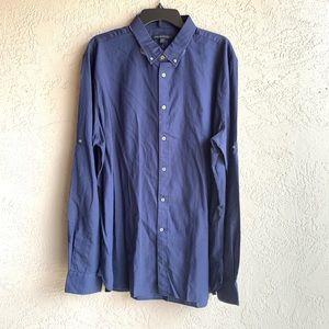 John varvatos: navy button down shirt in XXL-165